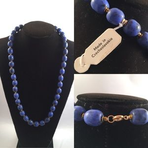 Czechoslovakia Blue Beaded necklace
